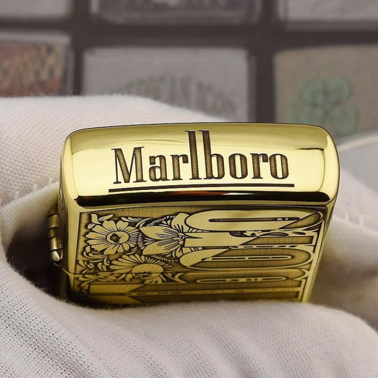 Zippo Chính Hãng Đồng Bóng Khắc Logo Marlboro Phiên Bản 254