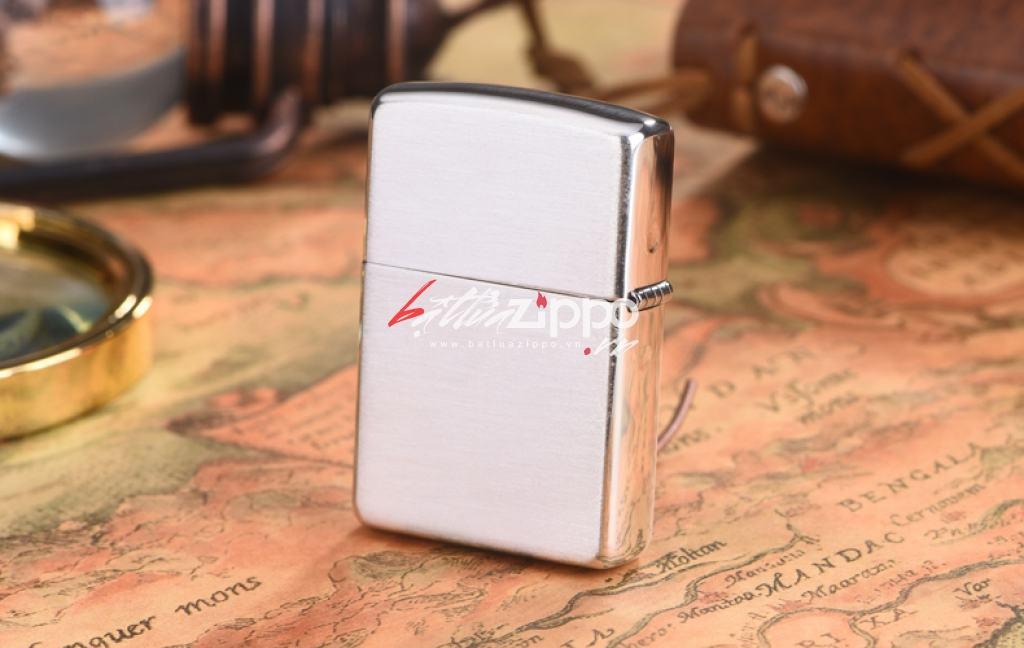 Zippo 27 - Bật lửa Zippo chính hãng USA bạc nguyên khối hoa văn xước   vỏ dày