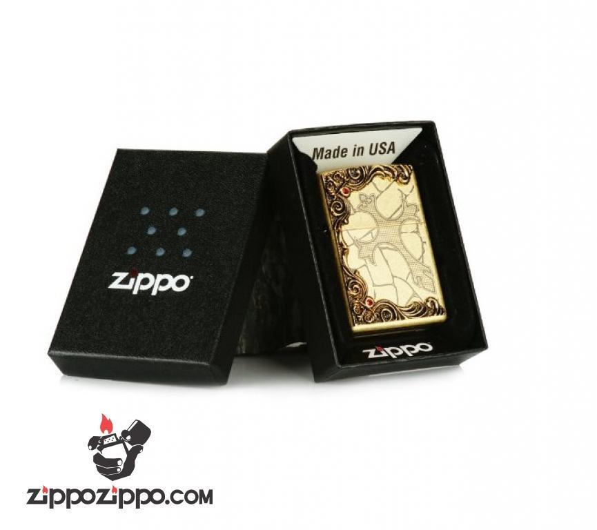 Bật lửa Zippo đồng khắc thánh giá họa tiết nổi