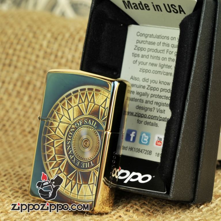 Bật lửa Zippo phiên bản đồng màu khắc la bàn giới hạn