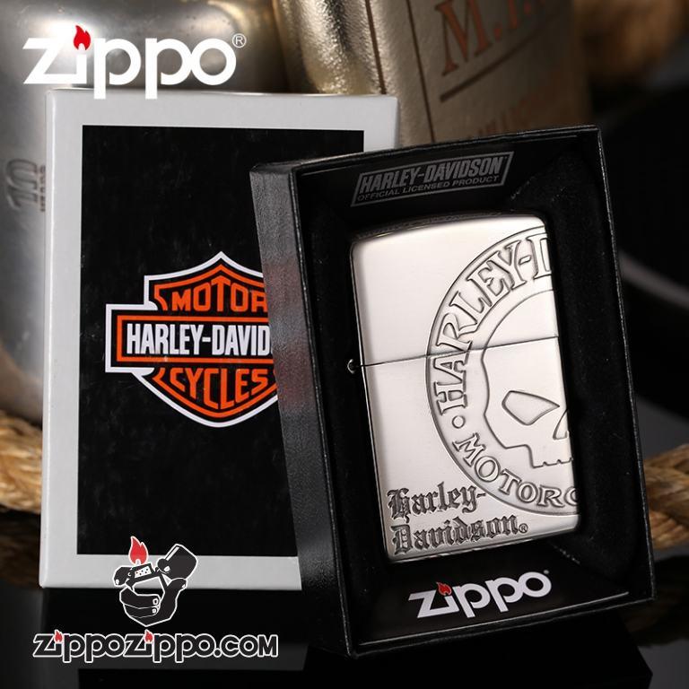 Zippo Chính Hãng Bạc Khắc Đầu Lâu Harley Davidson