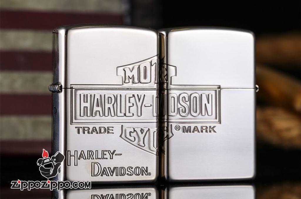 Zippo Chính Hãng Bạc Khác Chữ Harley Davidson 3 Mặt