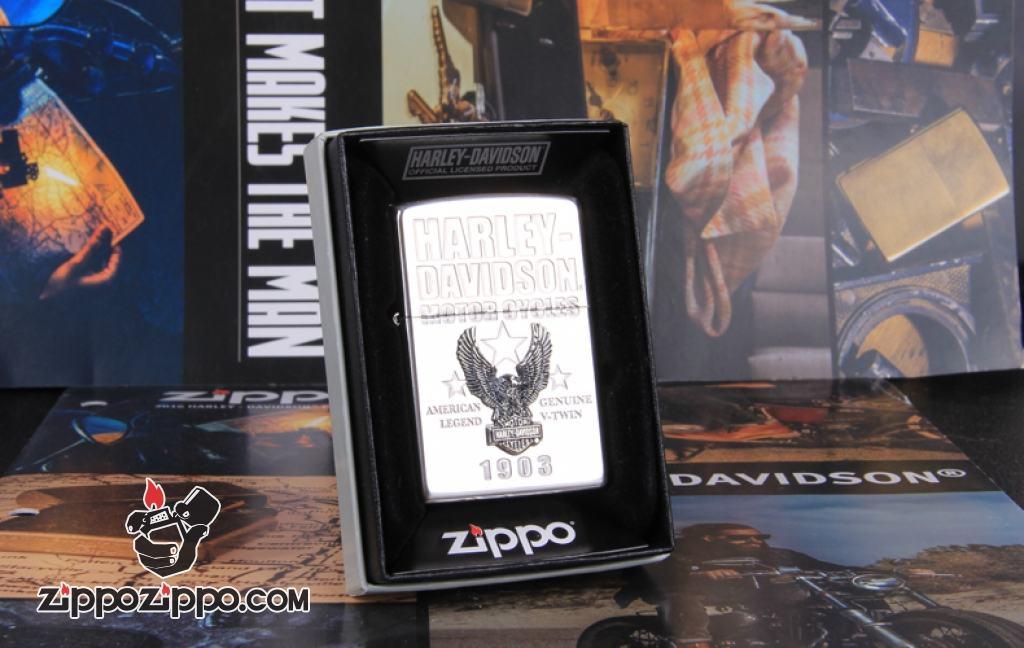 Zippo Chính Hãng Bạc Xe Harley David Chim Ưng 1903