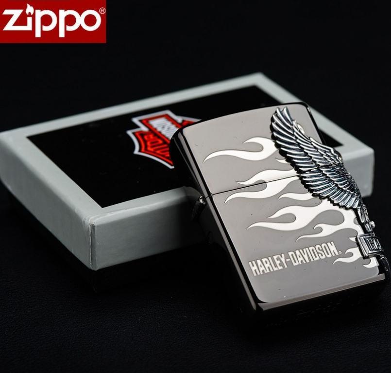 Zippo Chính Hãng Harley Davidson Màu Xám Hình Khối Chim Ưng Bên Sườn