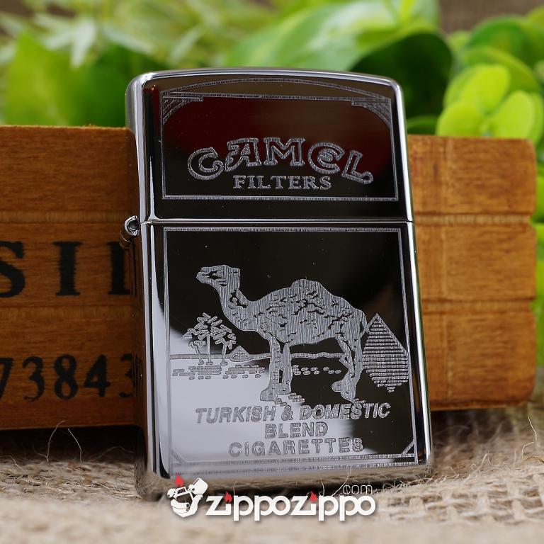 Bật lửa zippo mầu bạc khắc Camel
