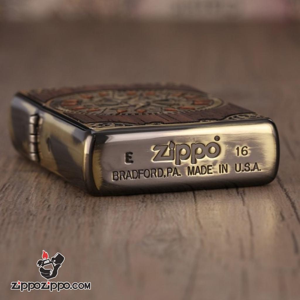 Zippo chính hãng ốp gỗ hoa văn