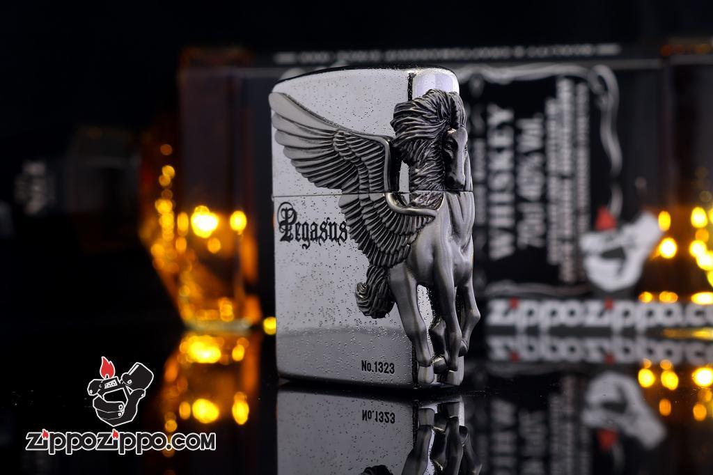Bật lửa zippo phiên bản giới hạn xuất nhật Zippo Pegasas  cánh được mạ bạc