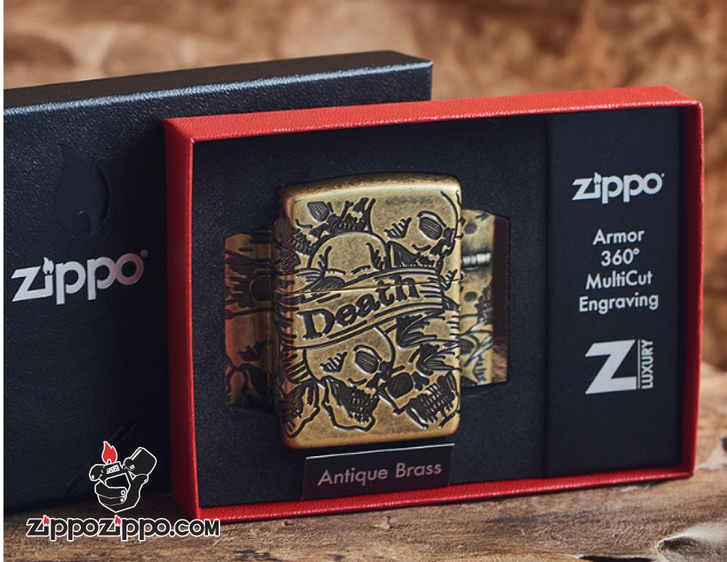 Zippo Armor đồng khối cắt khắc MultiCut 360 hình ảnh SKULL