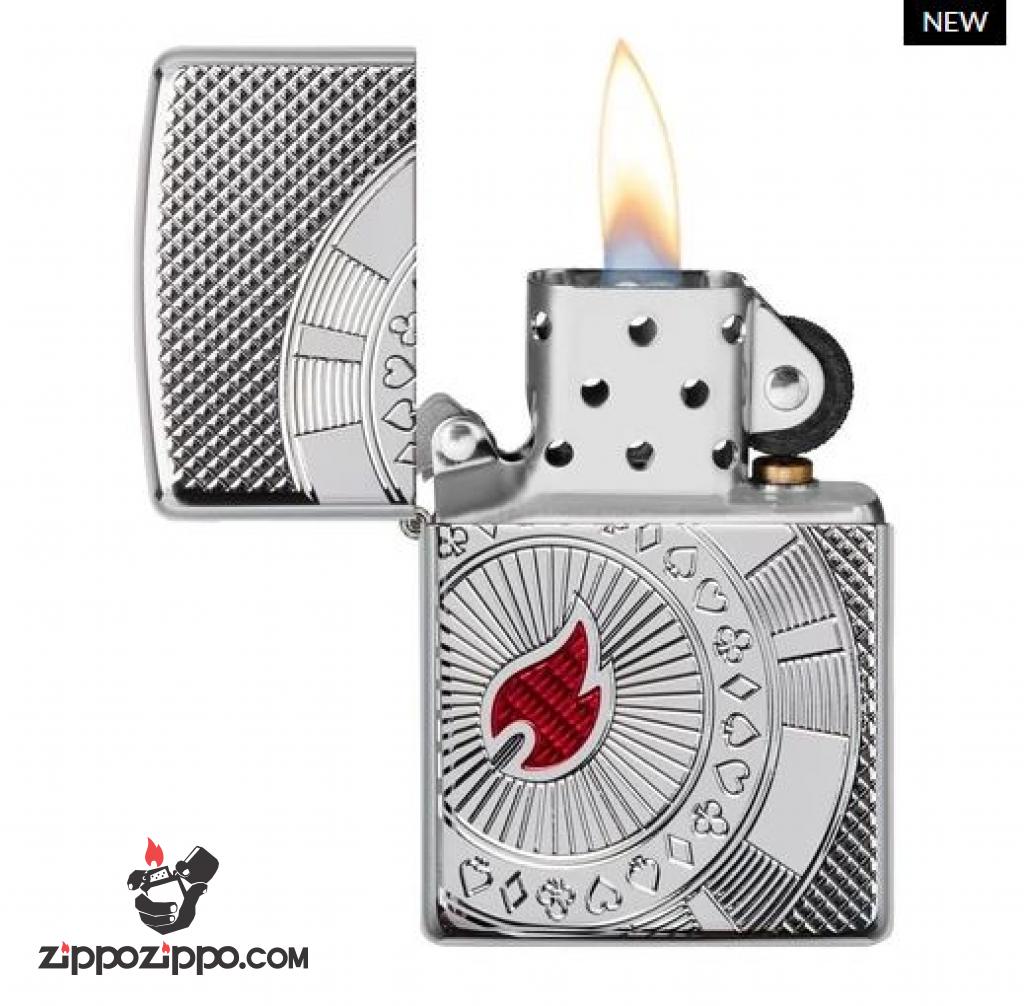 Zippo Armor khắc hình ảnh thẻ tiền trong bài Poker Ngọn lửa đỏ