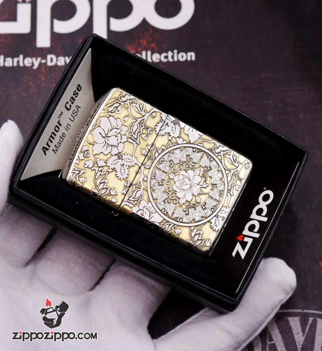 Bật lửa Zippo phiên bản chrome chạm khắc vòm hoa Mẫu Đơn vỏ dày