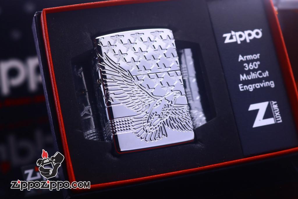 Zippo Armor khắc cao cấp 360 độ hình ảnh lá cờ Mỹ và đại bàng