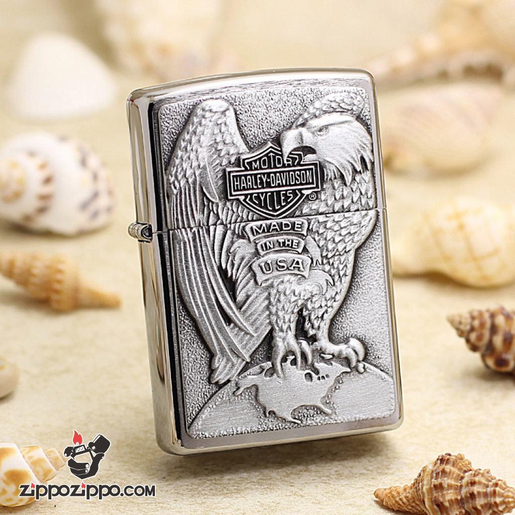Bật Lửa Zippo Ốp Đại Bàng Biếu Tượng  Harley Davidson
