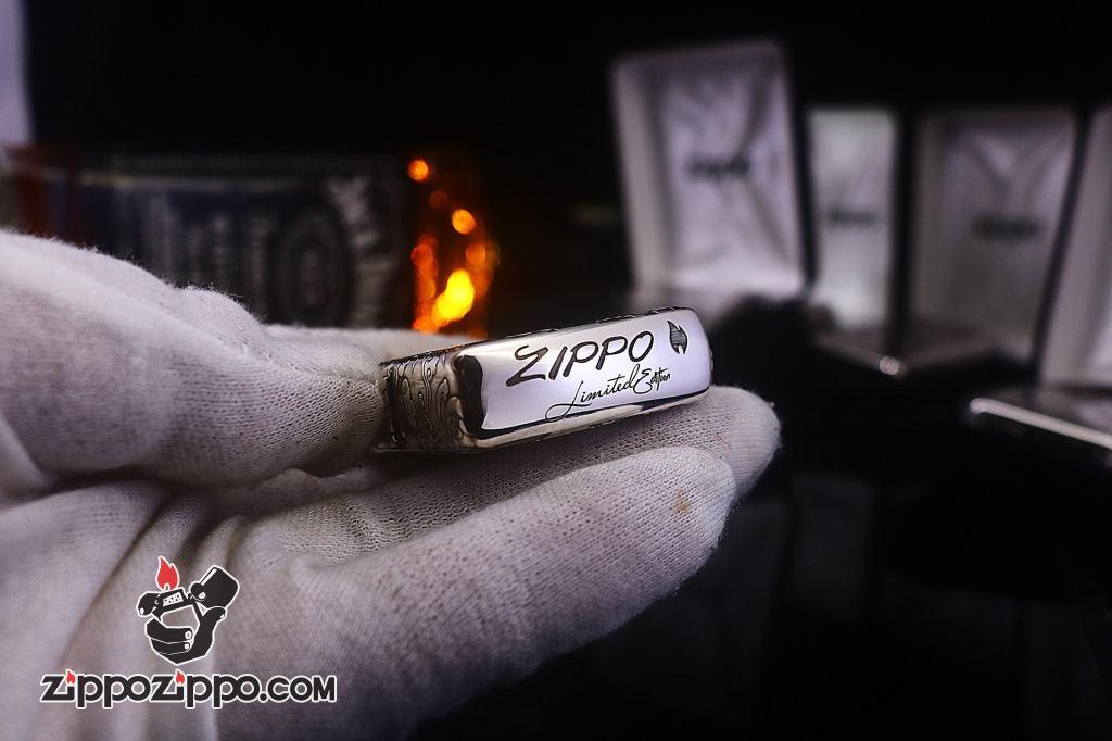 Zippo Bạc Nguyên Khối Cao Cấp Khắc Hình Rồng May Mắn Ôm Ngọc Phiên Bản Giới Hạn