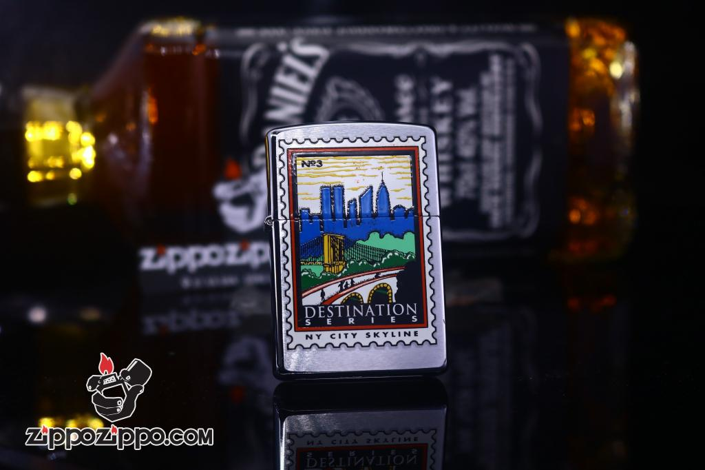 Zippo Cổ bạc xước in tem thành phố Skyline sản xuất 2000