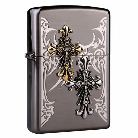 Bật lửa Zipp mặt gương đen khắc hình thánh giá