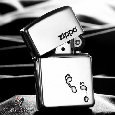 Bật Lửa Zippo Bạc Nguyên Khối Cao Cấp Khắc Dấu Chân Vỏ Dầy Bản Armor