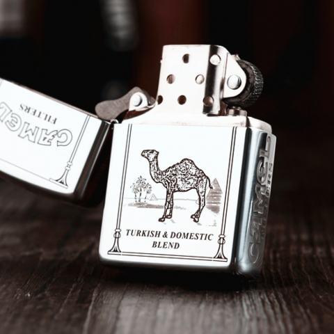 Bật Lửa Zippo Bạc Nguyên Khối Cao Cấp Khắc Camel Bản Vỏ Dầy Armor