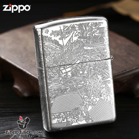 Bật lửa Zippo Bạc nguyên khối cao cấp khắc Hình Bức Tranh Cổ Bản Amor