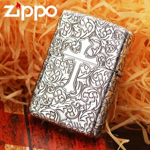 Bật Lửa Zippo Bạc Nguyên Khối Cao Cấp Khắc Hoa Văn Xung Quanh Thánh Giá Vỏ Mỏng