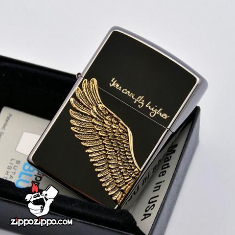 Bật lửa Zippo chính hãng Angel Wings màu đen