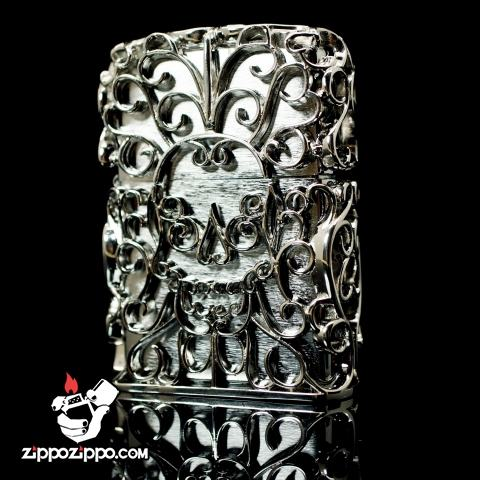 Bật lửa zippo chính hãng áo giáp bạc rỗng Skull Jacket Skull Thanatos