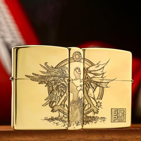Bật lửa Zippo khắc thiên thần và ác quỷ bản đồng bón