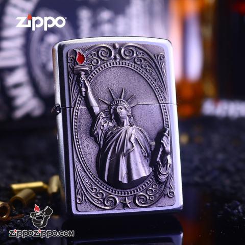 Bật Lửa Zippo Ốp Nữ Thần Tự Do
