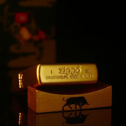 Bật Lửa Zippo Sơn Mài Vàng Trâu Năm Tân Sửu Bản Giới Hạn Màu Vàng