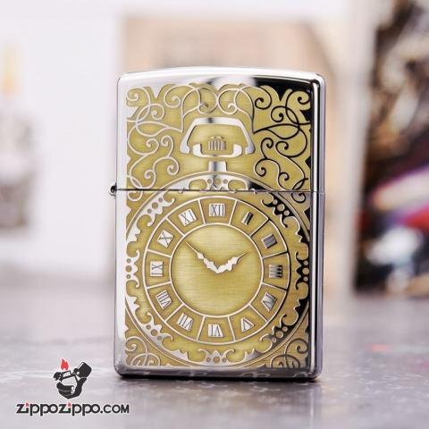 Zippo 250 Bạc khắc hình đồng hồ  màu đồng - Thời gian là tiền bạc