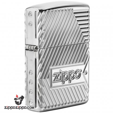 Zippo 29672 – Zippo Armor Multicut Bolts and Flame High Polish Chrome