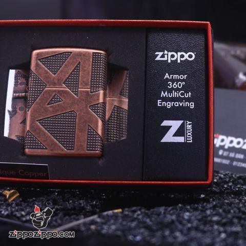 Zippo Armor đồng đỏ giả cổ khăc  hoa văn hình học không gian bao quanh lên 4 mặt