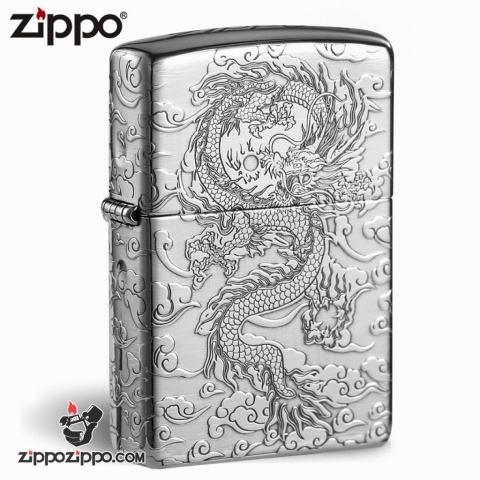 Zippo Bạc nguyên khối  Cao Cấp khắc hình rồng châu Á  Dũng Mãnh bản Armor