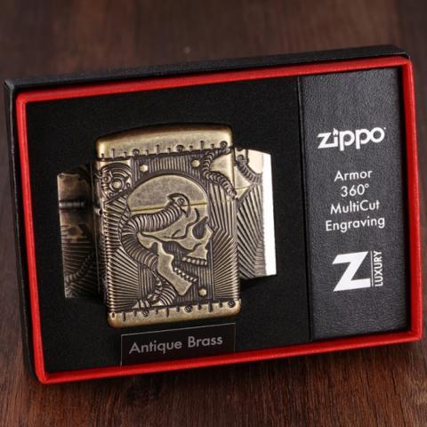 Zippo Chính Hãng Đồng Khắc Đầu Lâu Hộp Sọ Vỏ Dày Armor