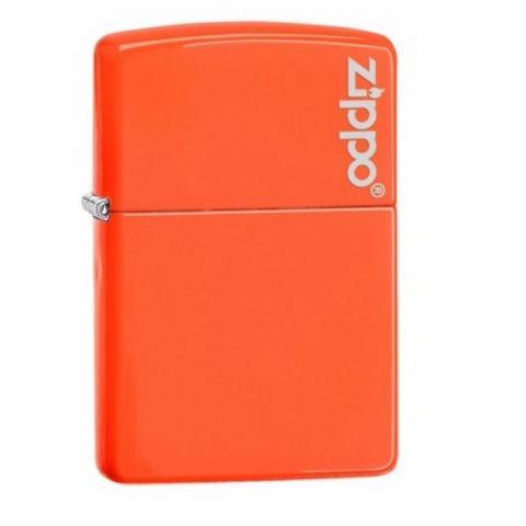 Zippo Chính Hãng Màu Cam Tươi Có Logo Zippo Trắng