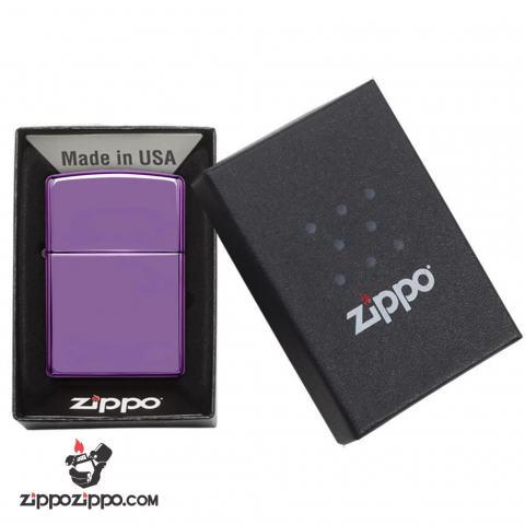 Zippo Chính Hãng Màu Tím Bóng Viền Zippo