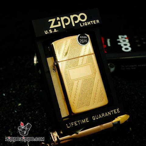 Zippo Cổ Slim Mạ Vàng Trên Nền Hoạ Tiết Đan Chéo SX Năm 2000