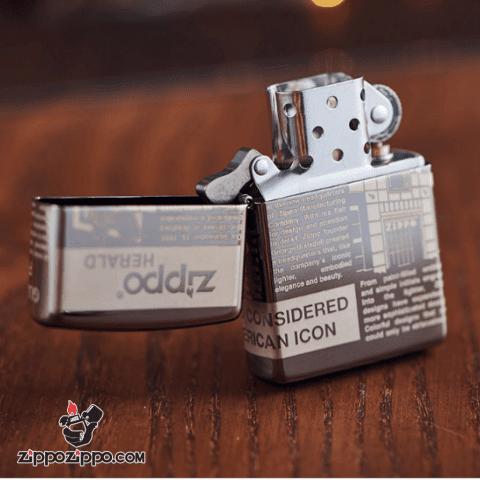 Zippo khắc Laser hình ảnh hình những bài báo nổi tiếng viết về lịch sử Zippo