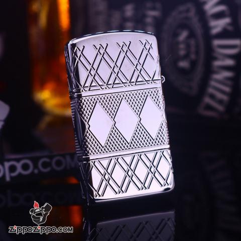 Zippo Slim Armor họa tiết kim cương gằn viên pha lê trắng